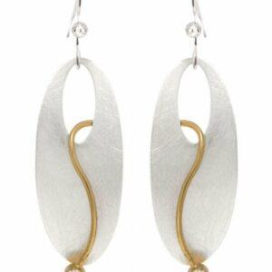 Ovale ørering med 2 simili stene