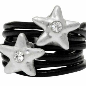 Ring med sort læder og stjerner