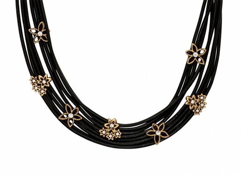 Sort læder halskæde